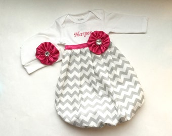 Boutique Personalized Baby GOWN in Grey chevron with pink accents-- baby girls clothing.. one piece. new baby  hospital outfit
