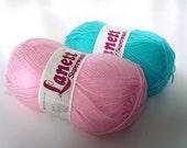Destash 2 skeins of Lanett Superwash 100% Merino Wool Yarn - Pink and Blue - made in Norway