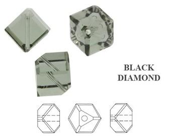 48 SWAROVSKI 4mm DIAGONAL CUBES in  Black Diamond