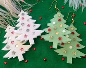 Christmas Tree in White and Green Laser Cut Acrylic Earrings