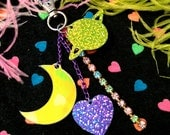 Neon Saturn Glitter Galaxy and Rhinestones Laser Cut Charms Purse Candy