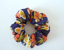 ON SALE Navy Blue with Orange Yellow White Flowers Bold Pattern Recycled Silk Kimono Shushu, Scrunchies
