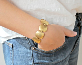 Golden Brass Square Pebble Linked Bracelet