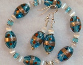 Turquoise Blue and White Beaded Bracelet and Earrings Set (stretch) Silver