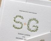 Garden Monogram Letterpress Wedding Invitation - Leaves - elegant, tasteful, simple Letterpress Wedding Invitation