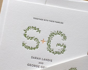 Garden Monogram Letterpress Wedding Invitation - Leaves - elegant, tasteful, simple Letterpress Wedding Invitation