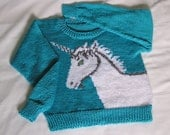Womens Unicorn Sweater Knitted, Custom Size and Color
