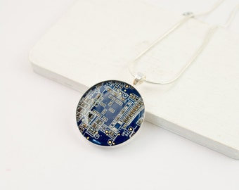 Circuit Board Necklace Blue - Upcycled Computer Jewelry - Motherboard Necklace - Geeky Gift for Her
