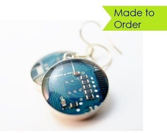 Circuit Board Earrings MADE TO ORDER Sterling Silver