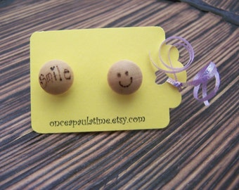 Wood Burned Stud Earrings SMILE