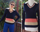 NAVY Blue 1970's Vintage Ribbed + Striped Red Tan Shirt with White Pointed Collar Long Sleeves // size Small Med // by The Kollection