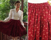 Country FLOWERS 1970's Vintage Deep Maroon Floral Prairie Skirt with Roses // size Medium
