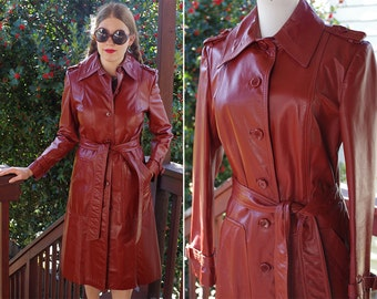 BROOKLYN 1970's Vintage Deep Brick Red Leather Long Belted Trench Coat with Epaulettes // size Small Med