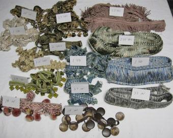 NEW-Decorator Trim Lot/Bundle-16+yds-Bullion/Tassel/Brush/Gimp-Home Decor/Crafts