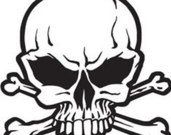 Skull and crossbones decal, skull, bones, vinyl, decals