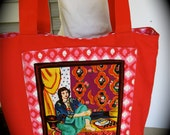 Hand sewn red canvas tote bag with a Image of a woman painted by Henri Matisse on the front, large everyday tote, foldable vacation tote