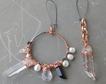 Quartz Crystal Point Earrings, Big & Bold Hoop Earrings, Asymmetrical Earrings, Statement Hoop Earrings, Smokey Quartz Pearl
