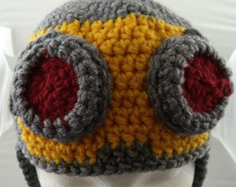 Crocheted Space Age Aviator's Helmet in Gray with Gold, Gray, and Red Goggles (made to order)