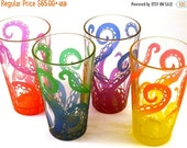 SUMMER SALE Octopus Tentacles Pint Glasses - Set of 4 - Etched and Painted Glassware - Custom Made to Order