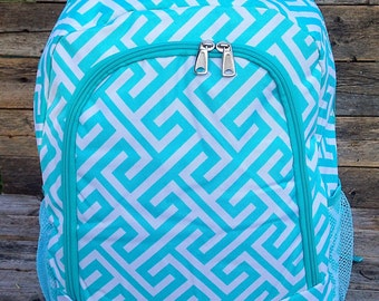 Aqua Turquoise Backpack Monogrammed Name or Initials of Your Choice
