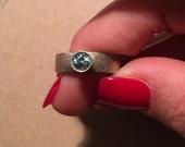 Blue Topaz Engagement Ring,  Handmade 5MM Blue Topaz 14kt White Gold Engagement Ring