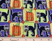 "Fat Quarter Black Cats and Pumpkins Allover Colorful Squares Cheater Quilt Fabric ""Halloween Spirit"" #6009 - Springs Industries, Inc. - OOP"