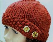 Rust cloche hat, with tortoise shell buttons, cedar, rust, copper, sienna, winter hat, knit hat, women's hat, chemo cap, toque, toboggan