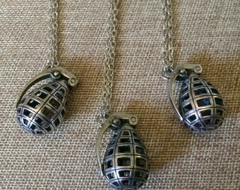 SUMMER SALE Grenade Necklace in Silver - Hollow Grenade Pendant on Silver Cable Chain - Mens Grenade Necklace - Mens Bomb Necklace