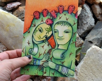 "Postcard based on the piece ""Prickly Pear Pair"" by Poxodd. 6"" X 4""  desert postcard cactus romance couple"