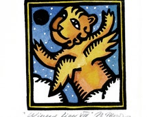 WINGED LION FLYING linocut Aceo greeting card small original artwork