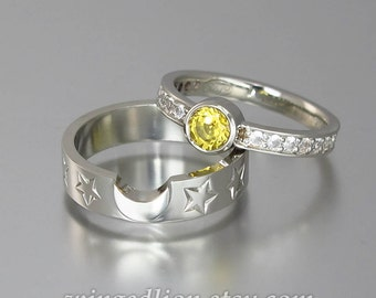 Sun and Moon ECLIPSE set in 14k white gold with yellow and white sapphires