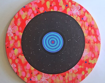 Record - Original Round Acrylic Art Painting