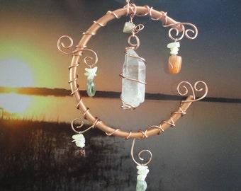 "Garden Sculpture, Quartz Crystal, Earth and Moon Mobile, Home Decor, Wall Hanging, Semi Precious Stones, Celestial, Copper Moon, ""Connected"""