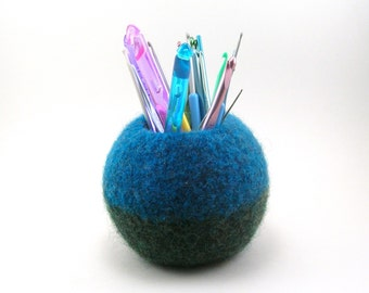 Wool felted bowl - office decor - wool bowl - ocean blue and forest