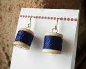 Earrings - Spools of Thread in Navy Blue