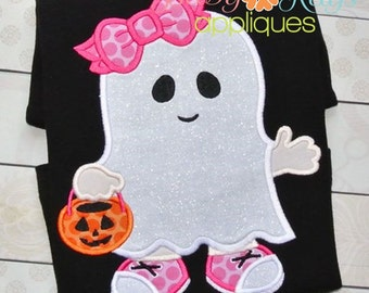 Little Ghost Girl Applique Design 4x4, 5x7, 6x10, 8x8