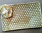 Ceramic Soap Dish Sponge Holder trinket Dish Honey Bee Dijon yellow