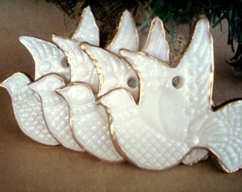 Four Doves Ceramic Christmas Tree Ornaments OFF White edged in gold