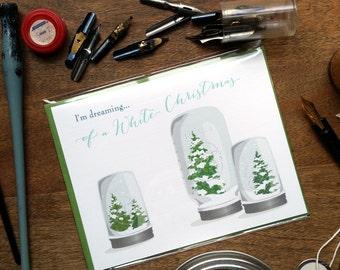 Mason Jar Snowglobe Christmas Card | Dreaming Of a White Christmas: Single Card or Boxed Set