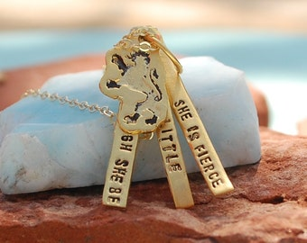 "SHAKESPEARE quote necklace, ""Although she be but little she is FIERCE."" eco-friendly 14kt gold vermeil. Handcrafted by Chocolate and Steel"