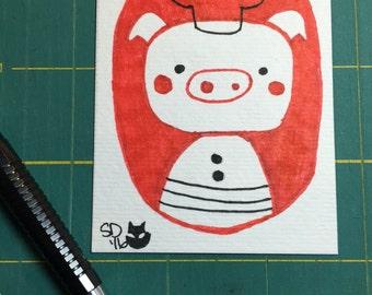 Miniature Drawing : Pig
