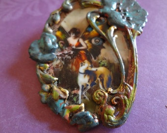 italian Greyhound Whippet Fairy Secret Garden Brooch Pendant
