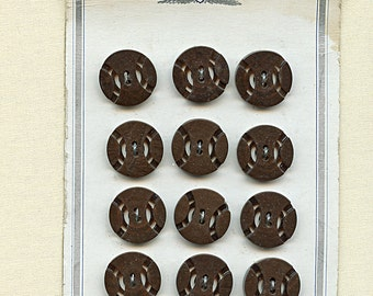 Dress Buttons BROWN Set of (12) 1940s  Pierced Double Cut Design 3/4 inch size 1484