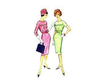 1950s Misses Slim Dress McCalls 5091 Vintage Sewing Pattern Size 14 Bust 34
