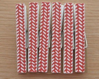 Baby Shower Red with White Stripes - Clothespin Clips Set of 6 - Optional Magnets