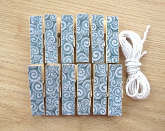 Beach Party Ocean Waves Chunky Little Clothespin Clips w Twine for Display -  Set of 12 - Pool Party