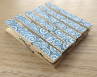 Ocean Waves Beach Party Clothespin Clips Set of 6 - Optional Magnets