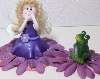 Purple glitter Fairy figurine and Frog Friend: miniatures Fairy Gardens