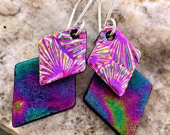 Purple Rainbow & Pink Dichroic Glass Earrings 'Double Dangle'