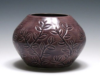 Dusty Purple Vase with Carved Leafy Vines